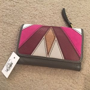 Fossil NWT Multicolor Suede/Leather Wallet